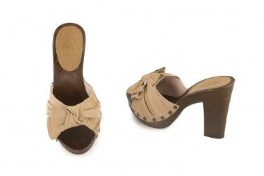 Heeled clog mule with bow...