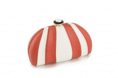 Striped hardcase clutch Cesily