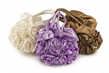 Satin handbag with roses...