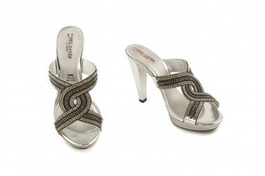 Jeweled high heel slide on...
