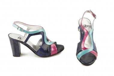 Multicoloured block heel...