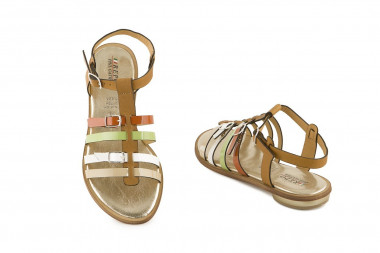 Leather flat strappy sandal...