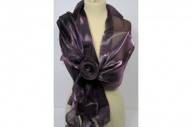 Shiny scarf stole with rose...