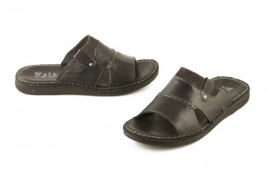 Open toe leather slide...