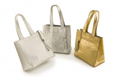 Ostrich print leather...