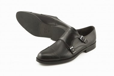 Black monk strap shoe with...