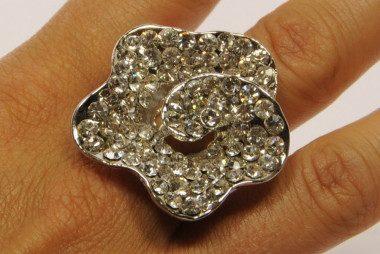 Flower-shaped rhinestone...