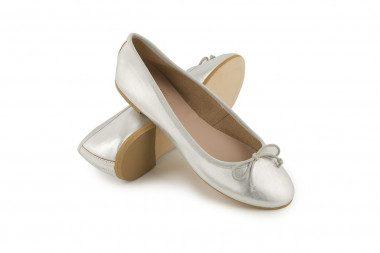 Metallic ballet flat with...