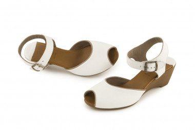Peep toe leather sandal...