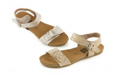 Metallic two buckle sandal...