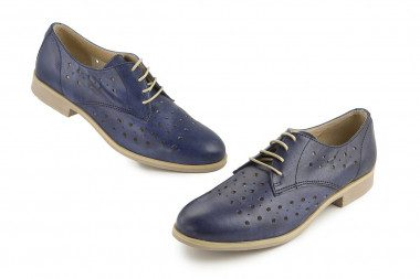 Leather lace-up perforated...