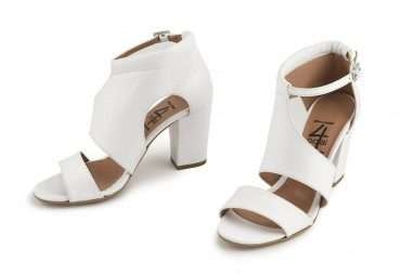 Block heel genuine leather...
