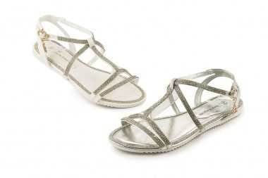 Flat rhinestone sandal...