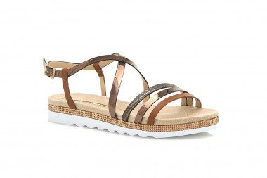 Flat strappy sandal with...