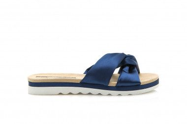 Satin slide sandal with...