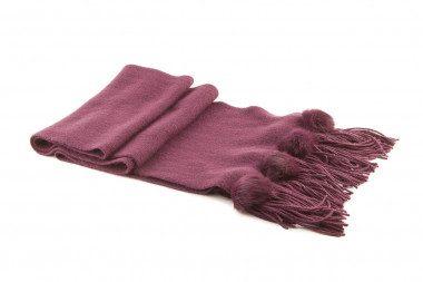 Sciarpa di maglia frange e pon pon Passigatti