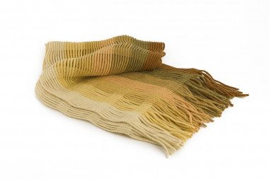 Fringed striped knit scarf...