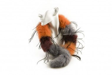 Striped blue fox fur collar...