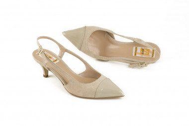 Slingback mid heel leather...